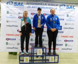 Micaela Qvarnström vann brons på både normalloppen och blandloppen i FM på rörligt mål 10m i Åbo 13-14.2.2016